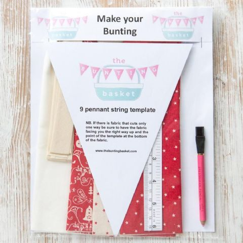 Make Your Own Cotton Bunting Kits - featuring red scandi bells and stars